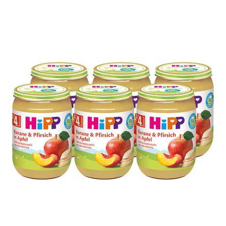 HiPP Früchte im Glas Bio-Banane und Pfirsich in Apfel 6 x 190 g ab dem 5. Monat