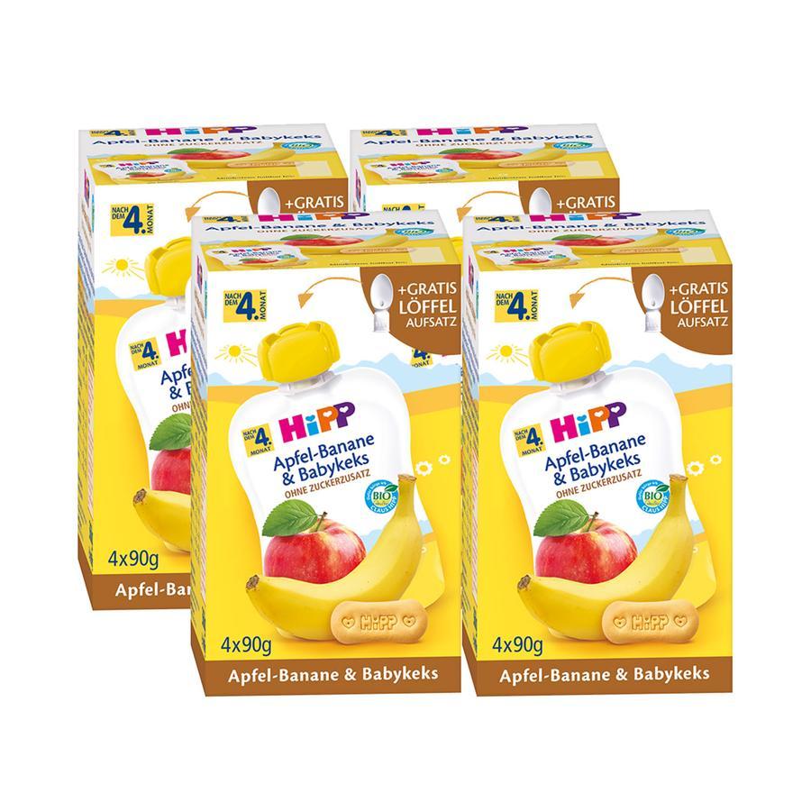 HiPP Quetschbeutel Bio-Apfel-Banane und Babykeks 16 x 90 g ab dem 5. Monat
