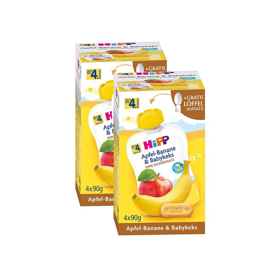 HiPP Quetschbeutel Bio-Apfel-Banane und Babykeks 8 x 90 g ab dem 5. Monat