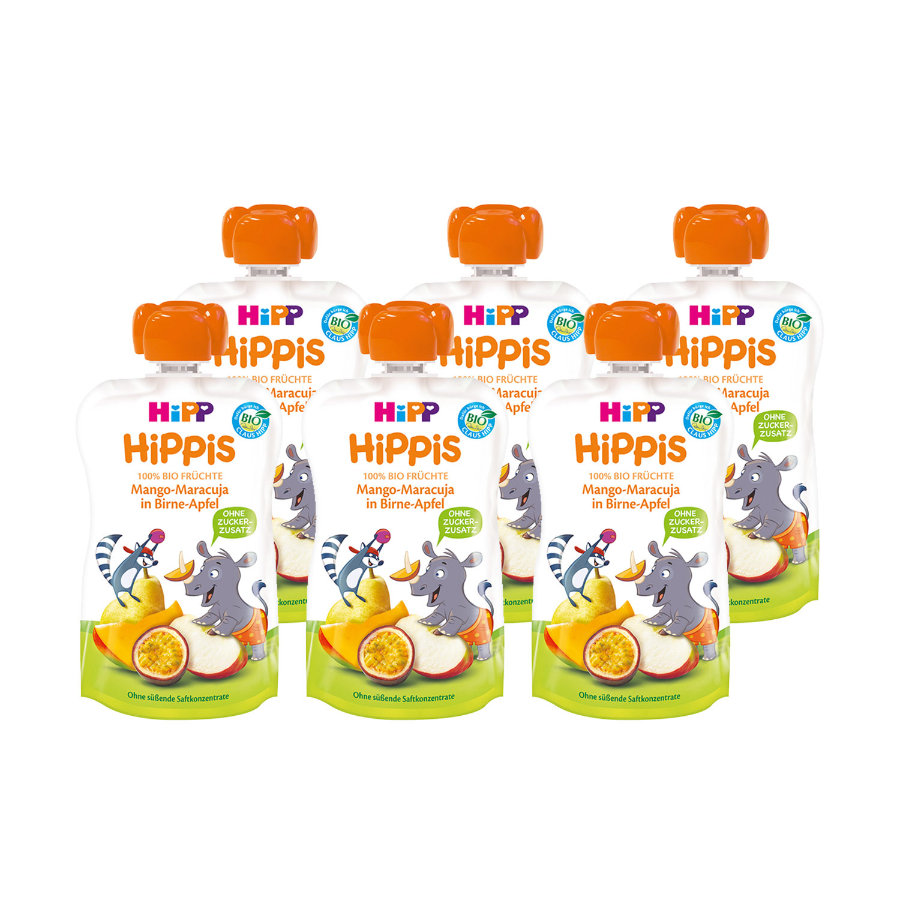 HiPP HiPPiS Bio-Mango-Maracuja in Birne-Apfel Nick Nashorn 6 x 100 g ab dem 1. Jahr