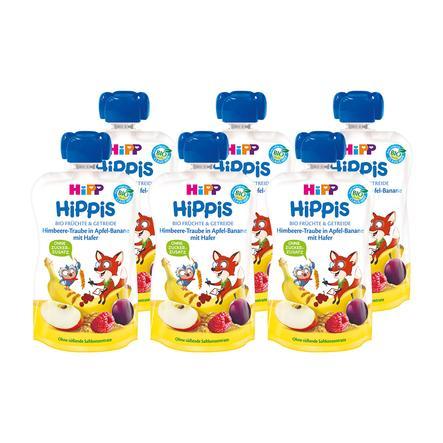 HiPP HiPPiS Bio-Himbeere-Traube in Apfel-Banane mit Hafer Fred Fuchs 6 x 100 g ab dem 1. Jahr