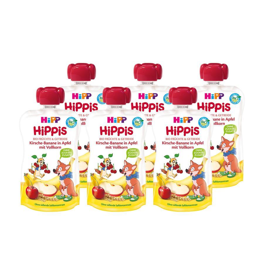 HiPP HiPPiS Bio-Kirsche-Banane in Apfel mit Volllkorn 6 x 100 g ab dem 1. Jahr