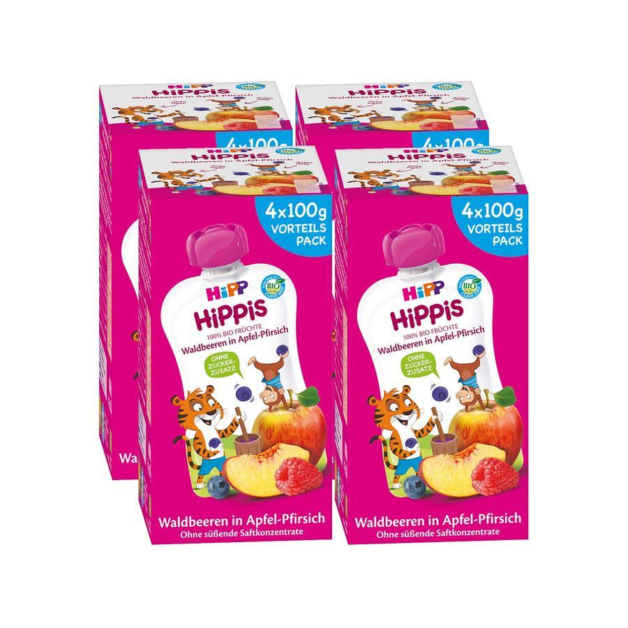 HiPP HiPPiS Bio-Waldbeeren in Apfel-Pfirsich Thilo Tiger 16 x 100 g ab dem 1. Jahr