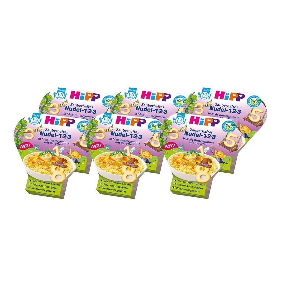 HiPP Kinder-Bio-Pasta Zauberhaftes Nudel 1-2-3 in Mais-Buttergemüse mit Karotten 6 x 250 g ab dem 1. Jahr