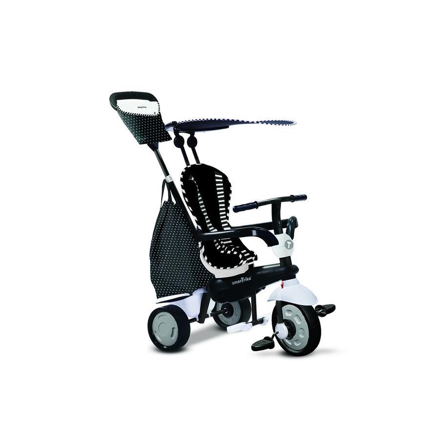 smarTrike® Glow Touch Steering® trojkolka 4 v 1, černo-bílá