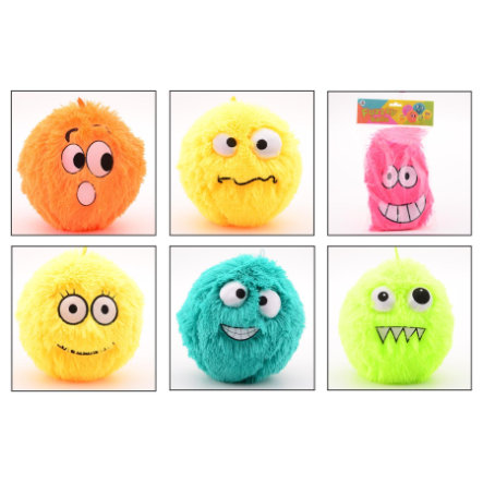 JOHNTOY Fuzzy Ball mit Smiley, 23 cm, 6-fach