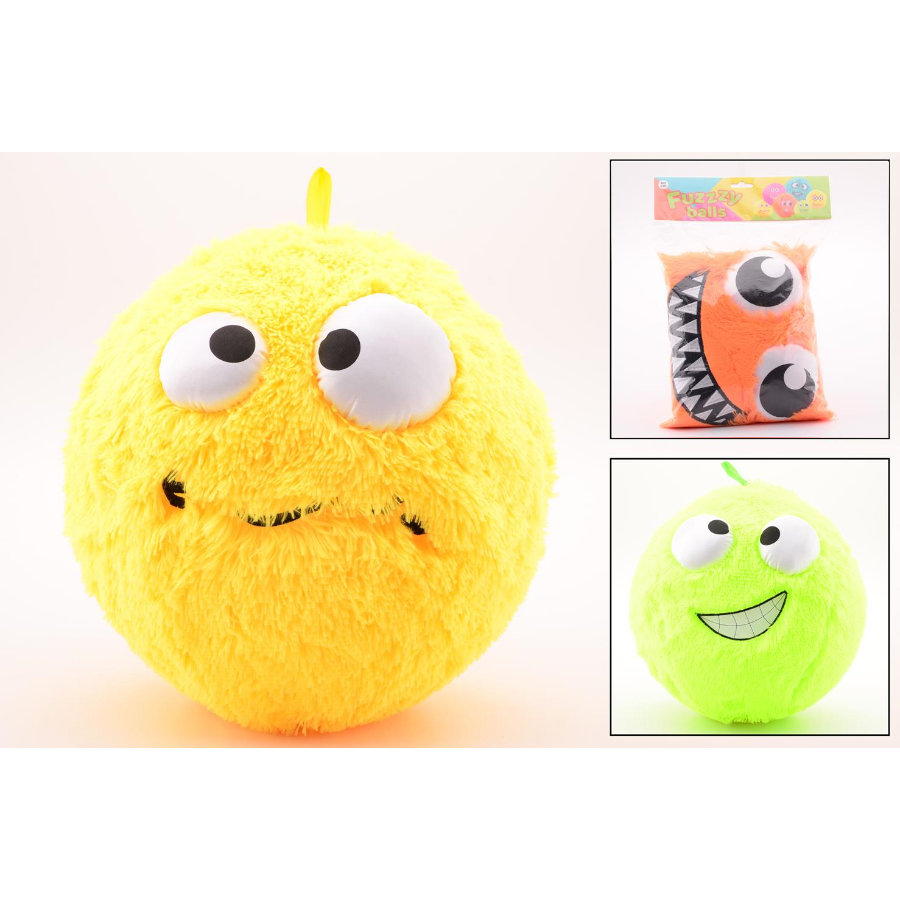JOHNTOY Fuzzy Ball mit Smiley, 40 cm, 3-fach