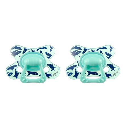 difrax Succhietto Dental in silicone Giggles 18+, 2 pezzi