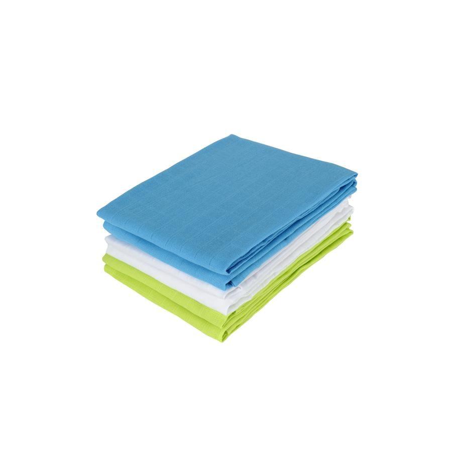 Jollein Hydrofiele Doeken soft lime/aqua/wit 70x70cm (6pack)