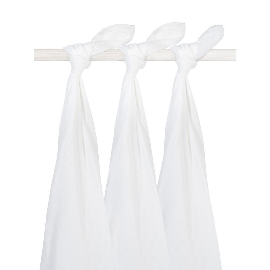 jollein Gauze bleier hvit 3-pakning 115x115cm