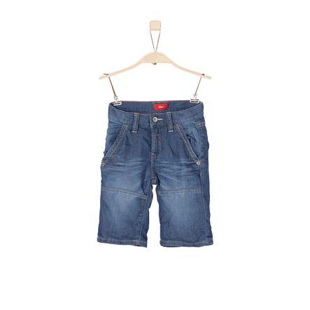 s.Oliver Boys Bermuda blauw denim stretch slank