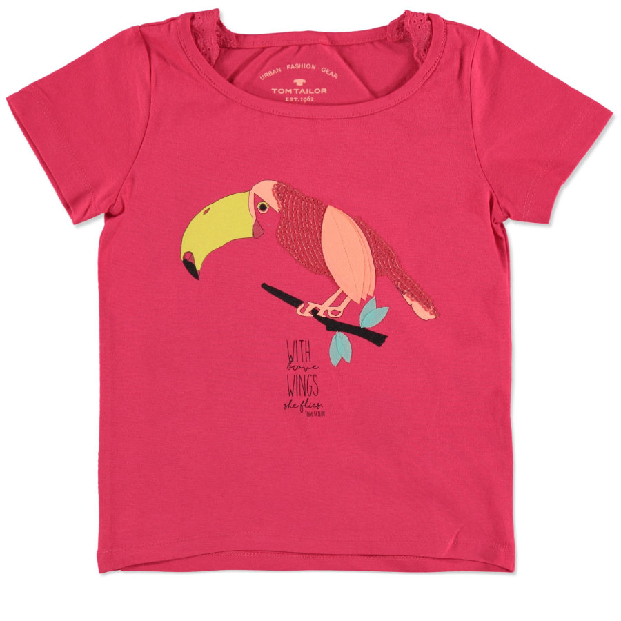 TOM TAILOR Girls T-Shirt Tucan pink