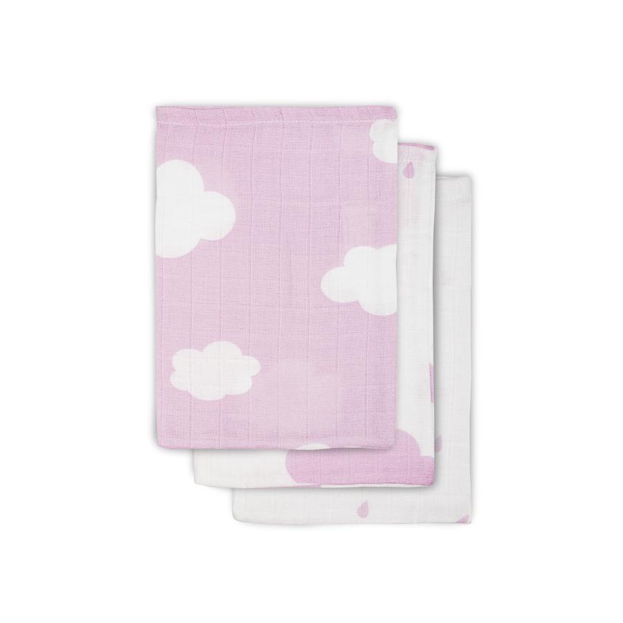 Jollein Hydrofiel washandje Clouds roze (3pack) 15x20cm