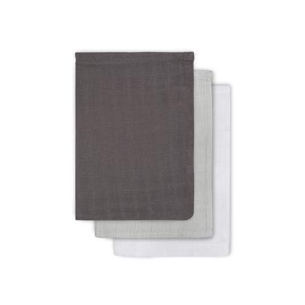jollein Mull vaskeklud grå/antracit/hvid 3er-Pack 15x20cm