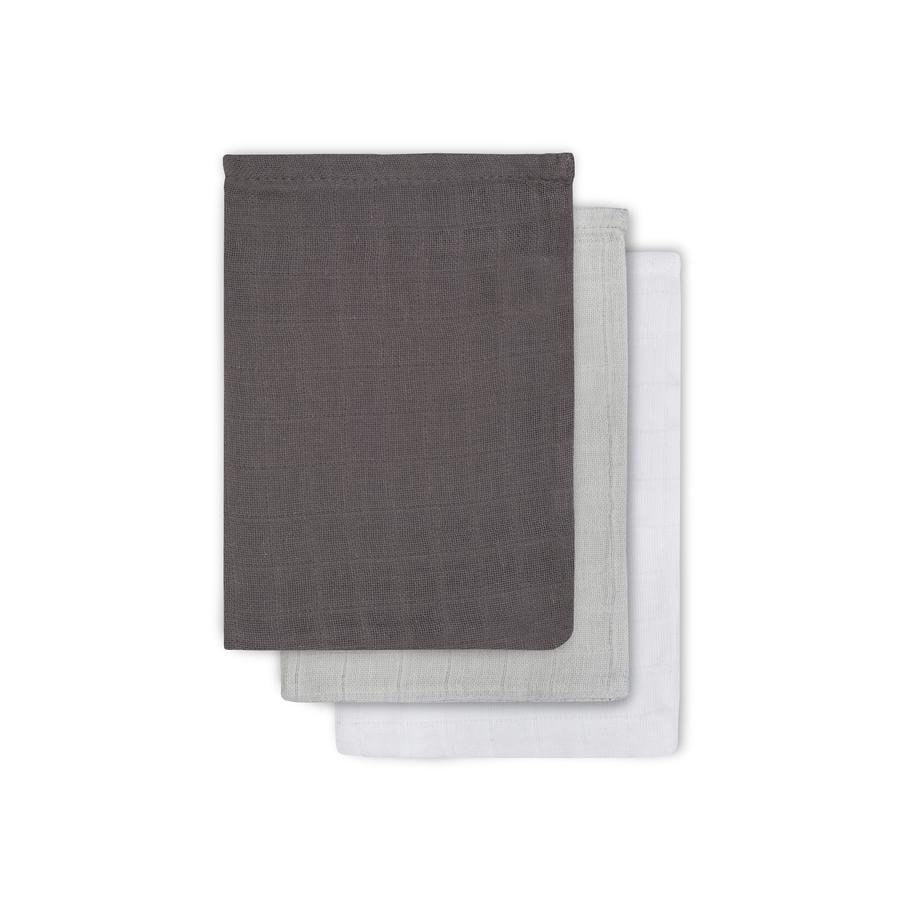 jollein Mullwaschlappen grau/anthrazit/weiß 3er-Pack 15x20cm