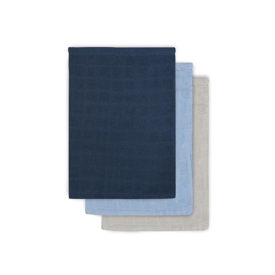 jollein Mullwaschlappen marine/hellblau/hellgrau 3er-Pack 15x20cm