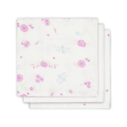 jollein Mull Mundtuch Blooming rosa 3er-Pack 31x31cm