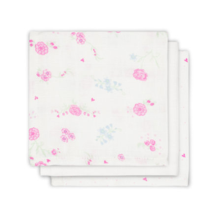 jollein Servilleta Bloom Mull rosa 3-pack 31x31cm