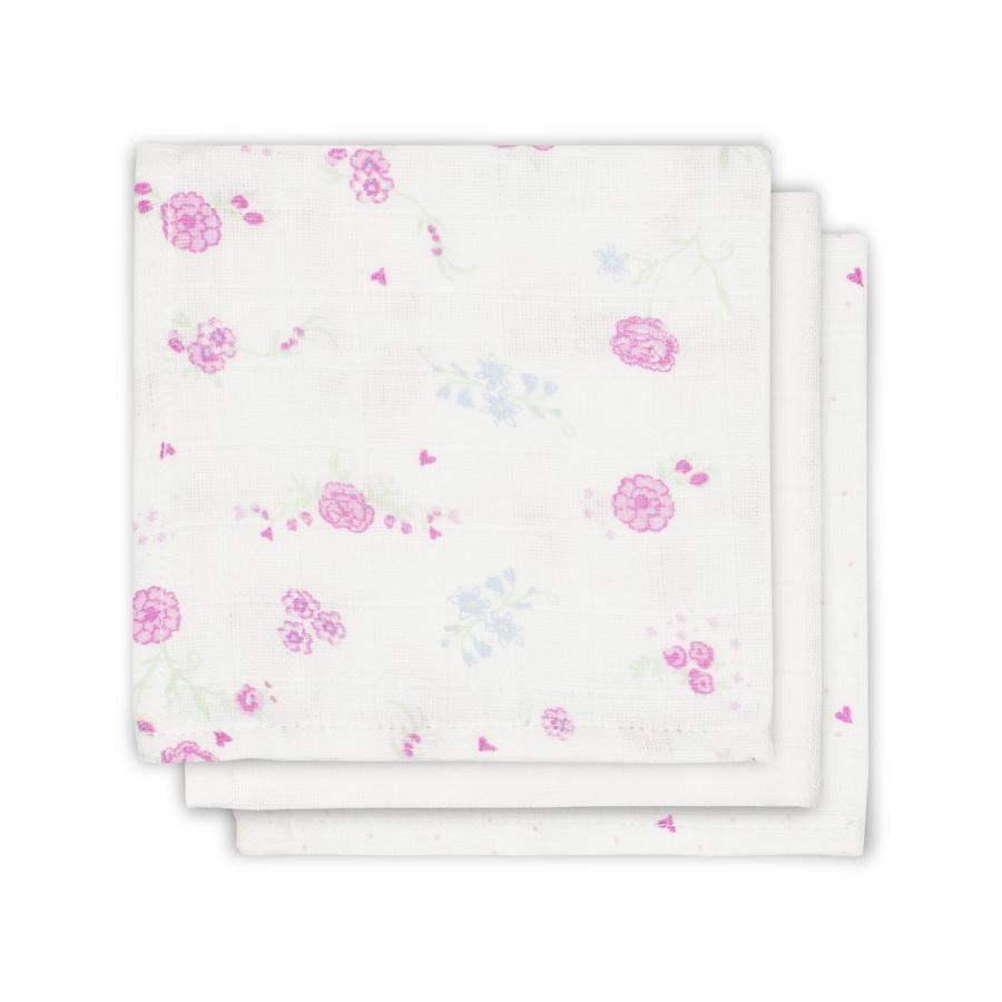 jollein Mull serviett Blomstrende rosa 3-pakning 31x31cm