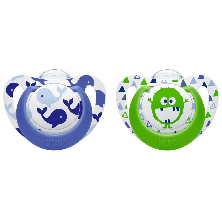 NUK Schnuller Genius Color blau / grün Silikon Gr. 2 2 Stück