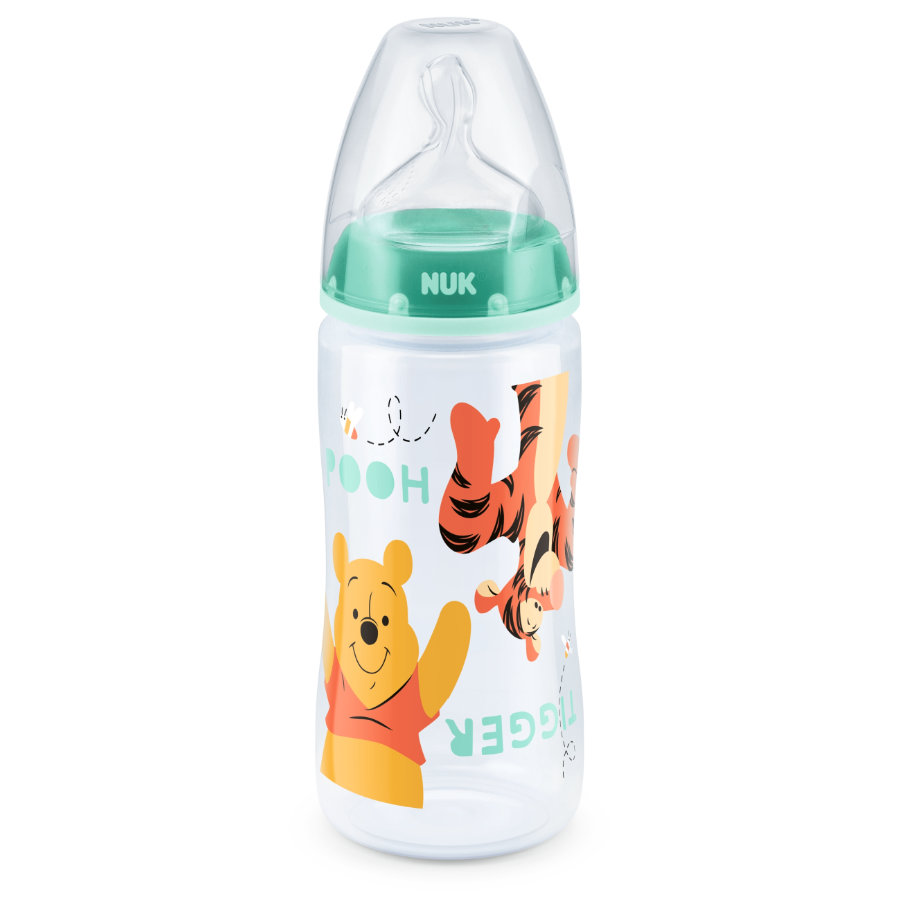 NUK Babyfles First Choice Plus silicoon Design:  Winnie de Poeh en Tijgertje Gr. 2 vanaf 6 maanden 300ml
