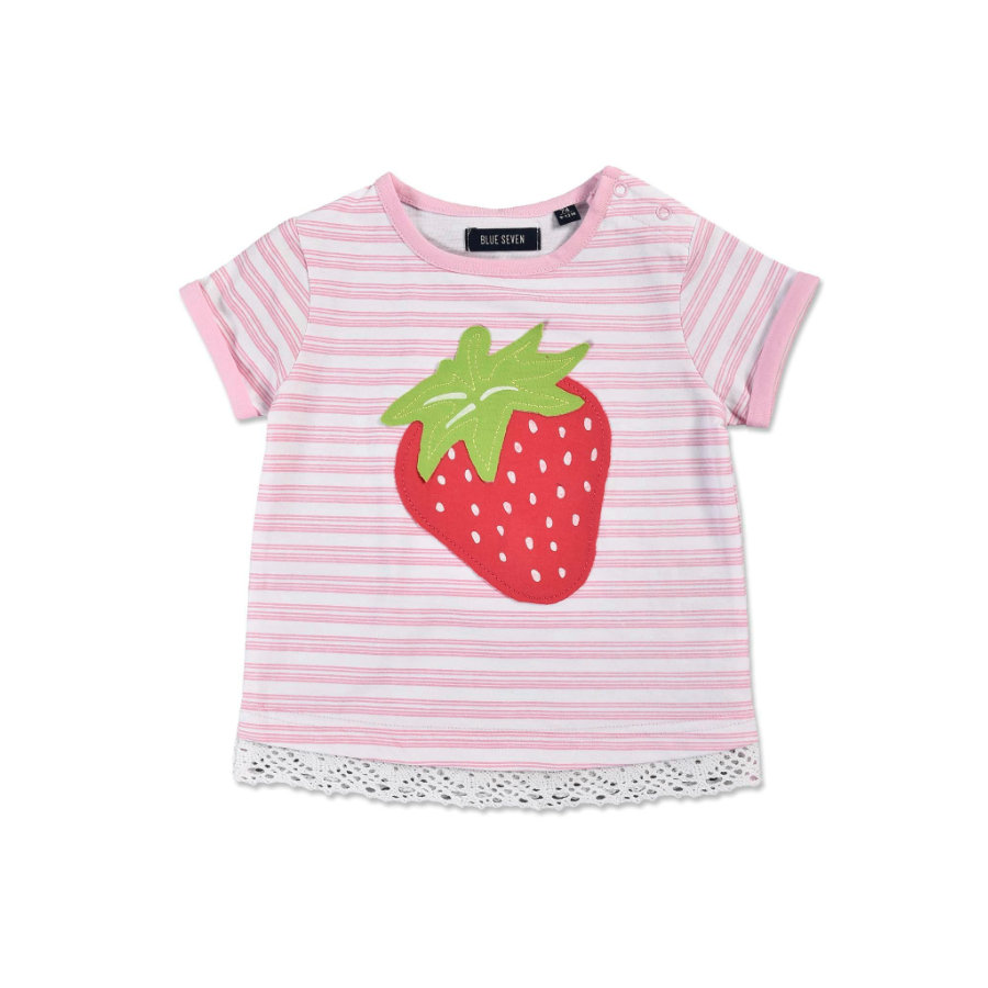 BLUE SEVEN Girls T-Shirt Strawberry gestreift rosa