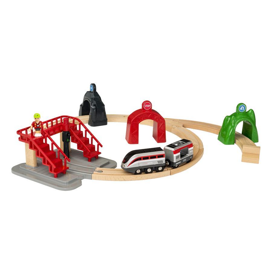 BRIO® WORLD Tren inteligente con recorrido de vías y túneles