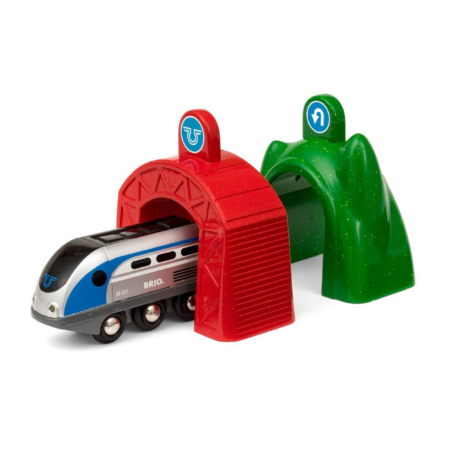 BRIO® WORLD Tren inteligente con túneles