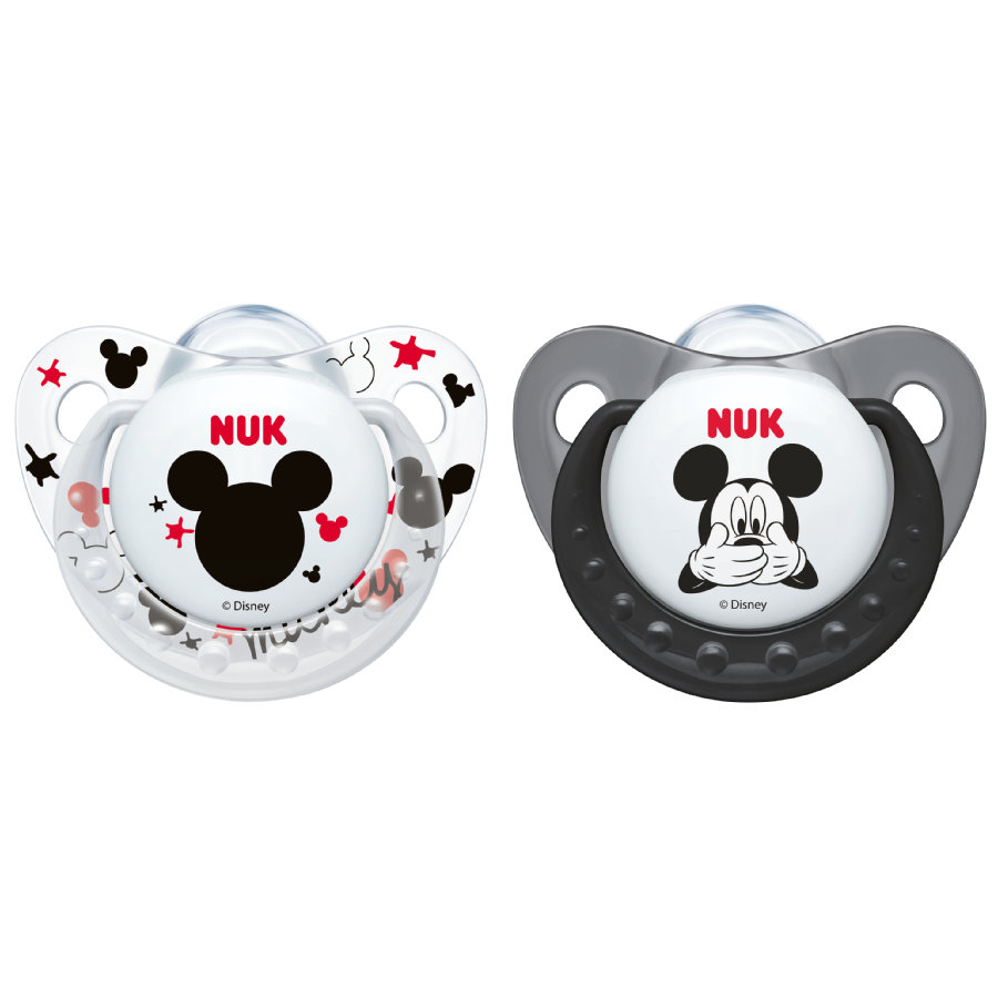 NUK Schnuller Trendline Mickey grau / weiß Silikon Gr. 1 2 Stück