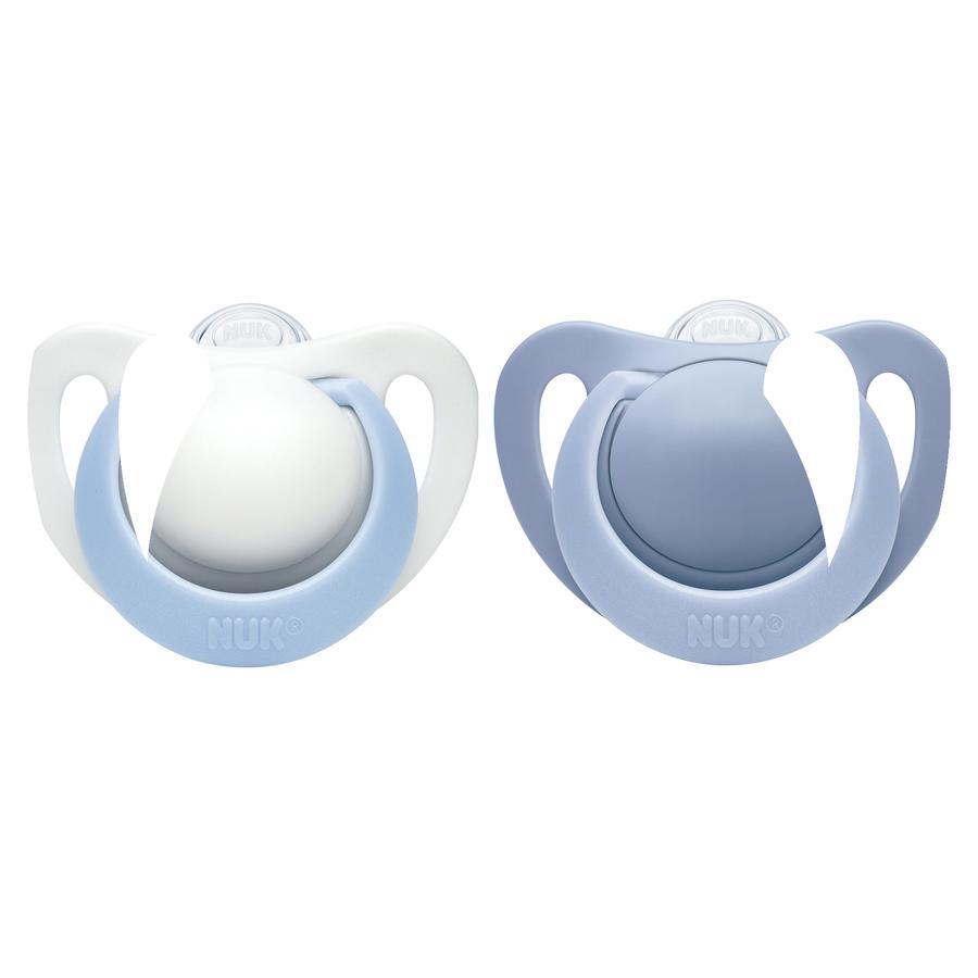 NUK Schnuller Genius blau / weiß Silikon Gr. 0 2 Stück