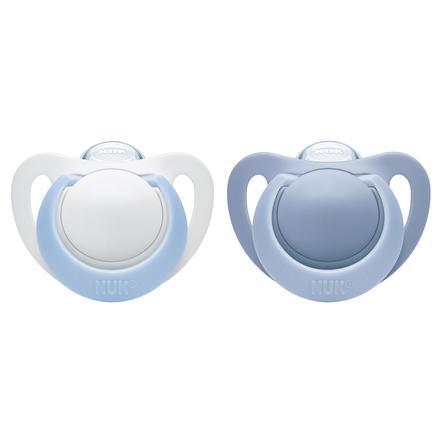 NUK fopspeen Genius latex Gr. 1 blauw / wit