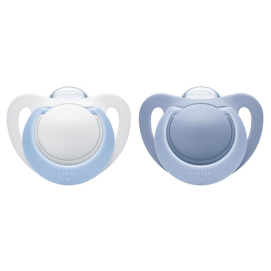 NUK Schnuller Genius blau / weiß Silikon Gr. 1 2 Stück