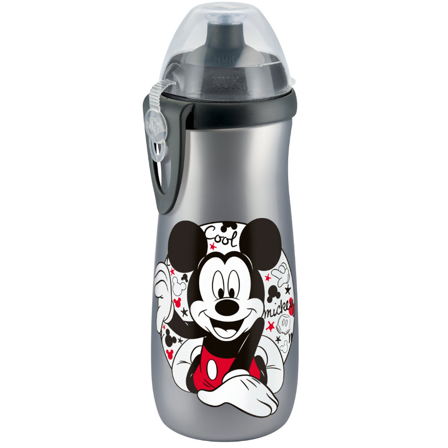 NUK Sports Cup 450 ml avec clip Disney Mickey avec bec Push-Pull silicone, argent