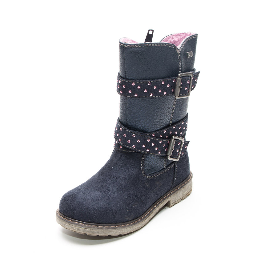 Be Mega Girls Stiefel Glitzerpunkte navy