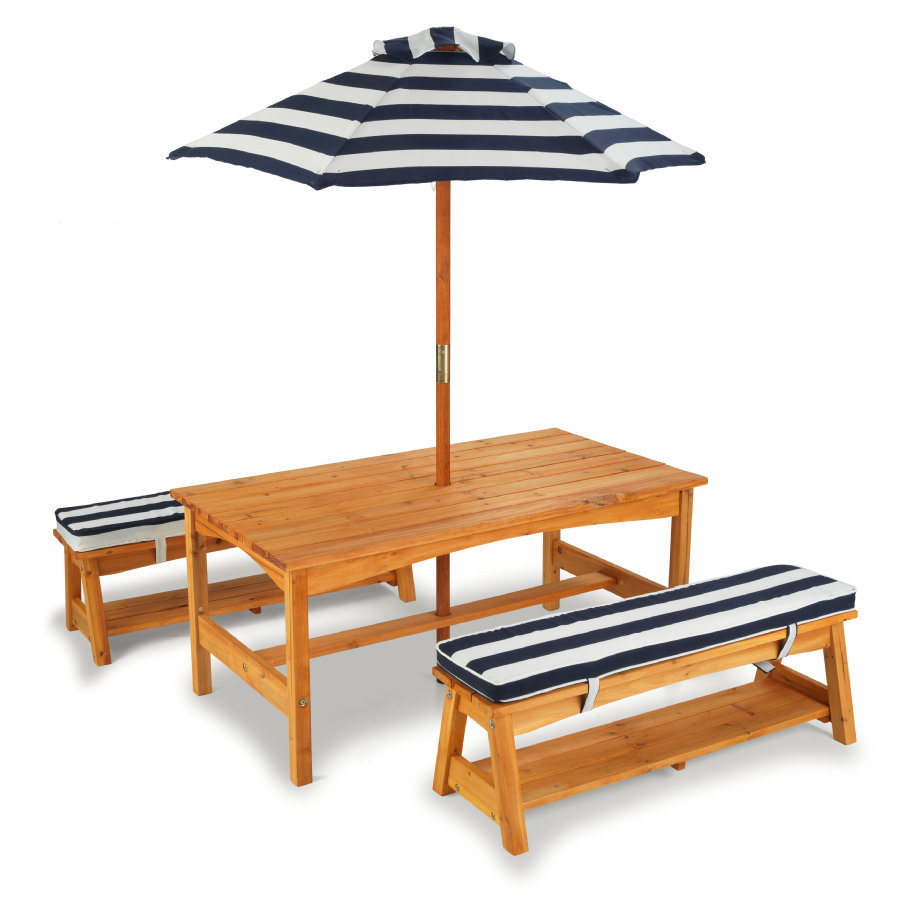Kidkraft® Set tavolo e panche con cuscini e ombrellone per bambini