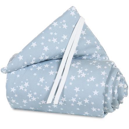 Protector acolchado para cuna babybay Maxi Azul celeste estrellas blancas