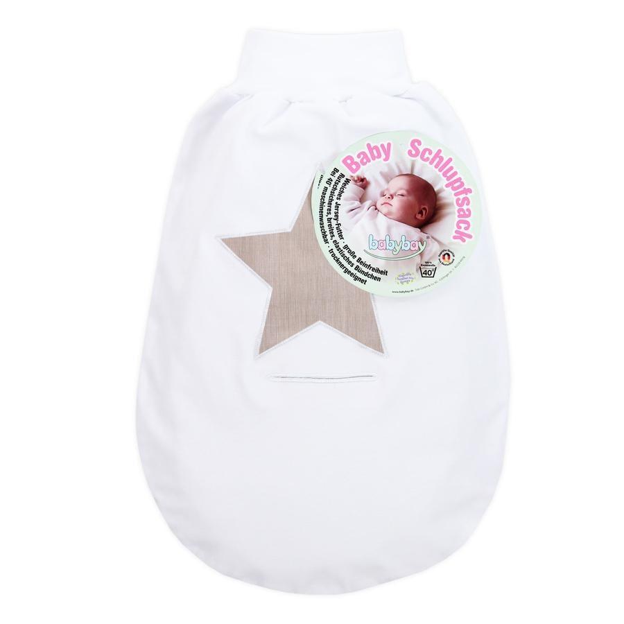 babybay Śpiworek na nóżki biały z aplikacją Gwiazdka brązowy