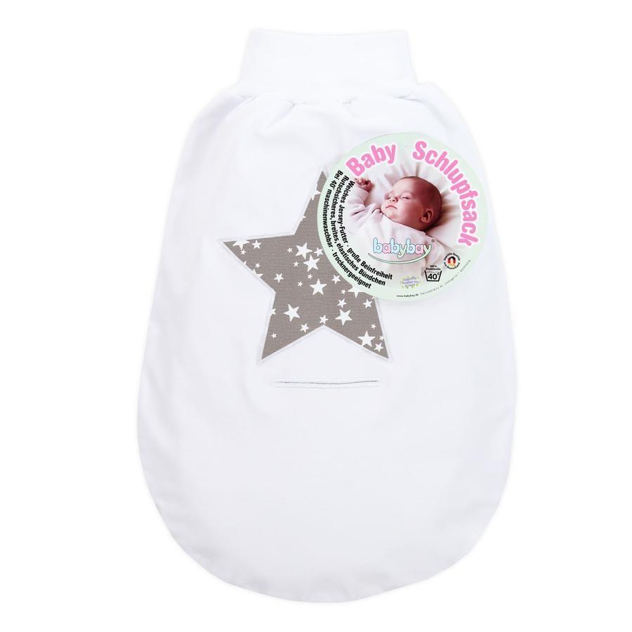 babybay Śpiworek na nóżki biały z aplikacją Gwiazdka taupe