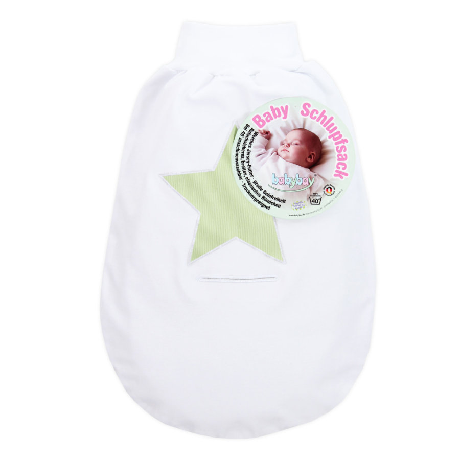 babybay Slip bag valkoinen appliqué star iso vihreä