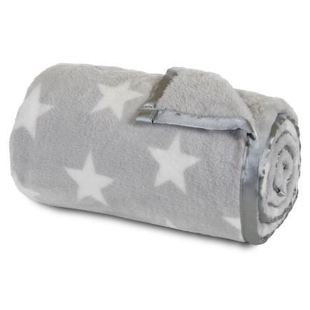 babybay deka světle šedá, bílé hvězdy
