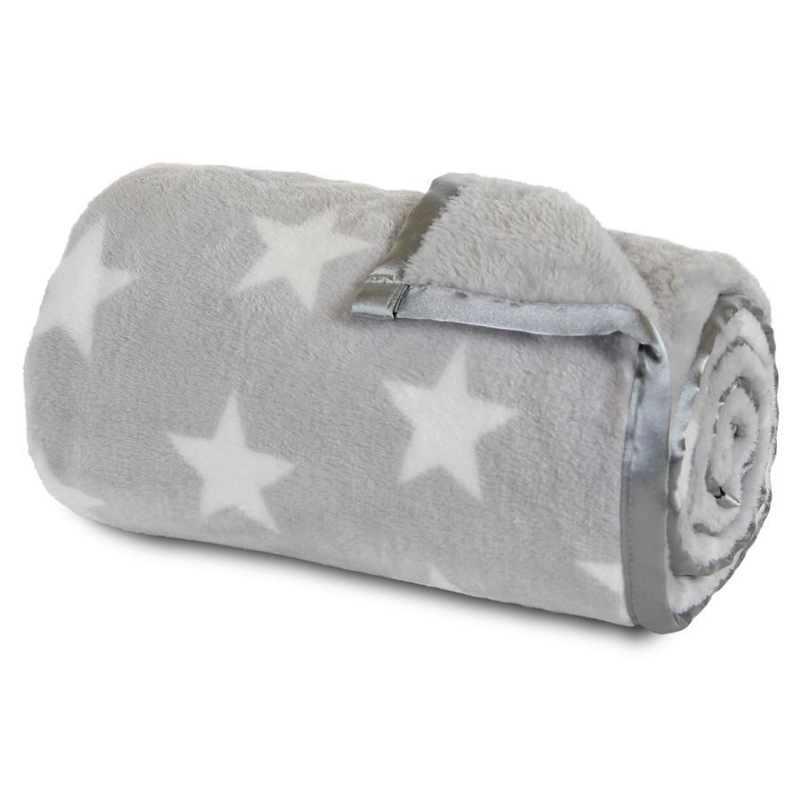 babybay Kocyk jasnoszary Gwiazdki biały