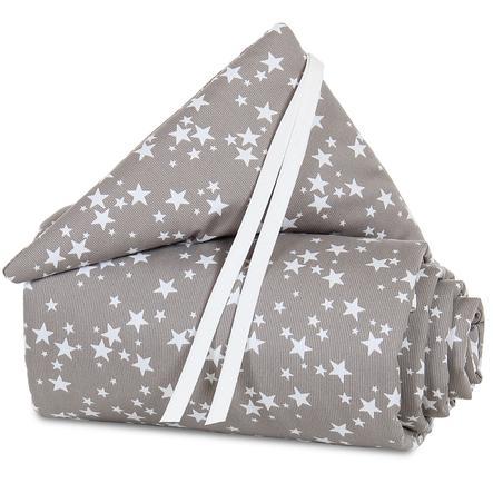 Protector acolchado para cuna babybay Maxi Taupe estrellas blancas