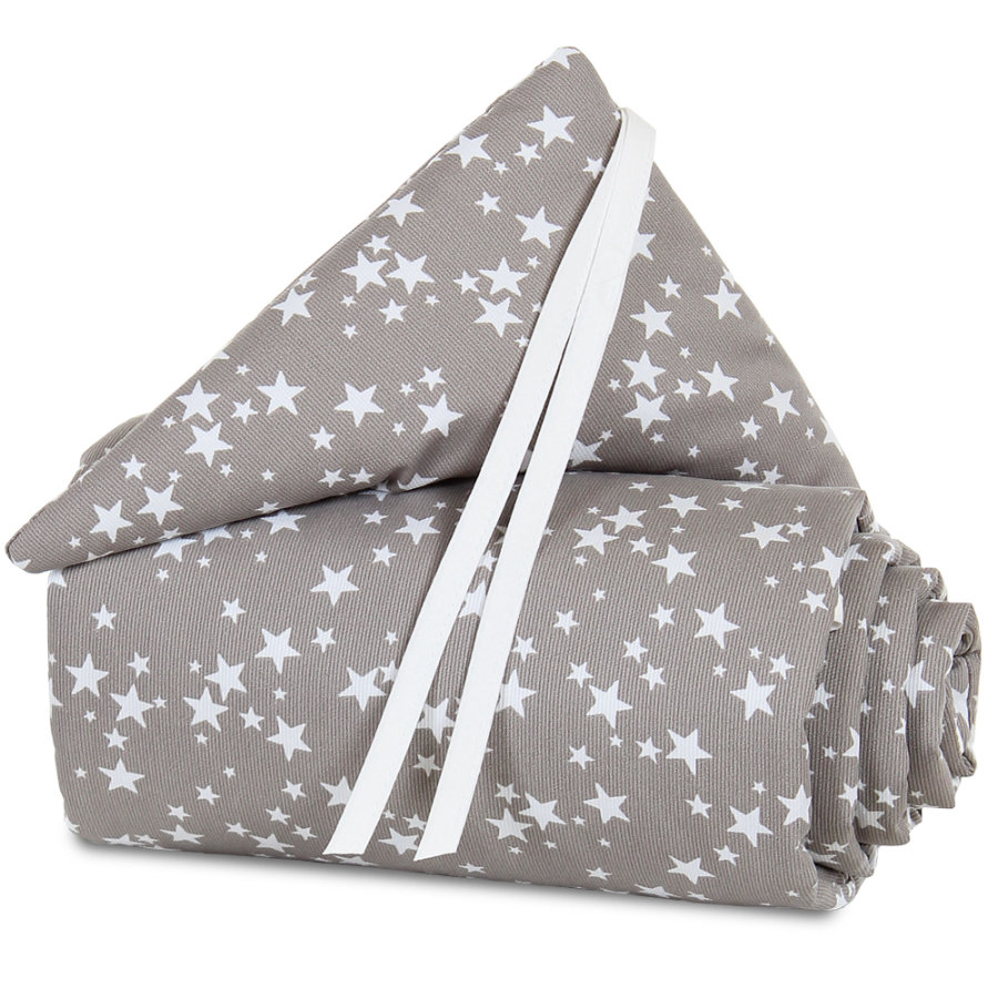 babybay hnízdečko Piqué Maxi Taupe Hvězdičky bílé 168 x 24 cm