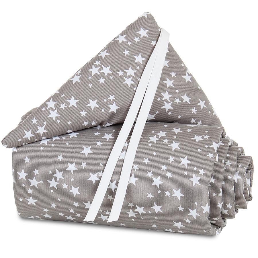babybay Nestchen Piqué Maxi Taupe Sterne weiß 168 x 24 cm