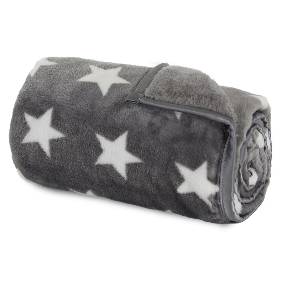 babybay Deka tmavě šedá, bílé hvězdy