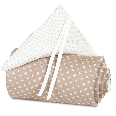 babybay Tour de lit mini/midi brun clair, Étoiles blanc
