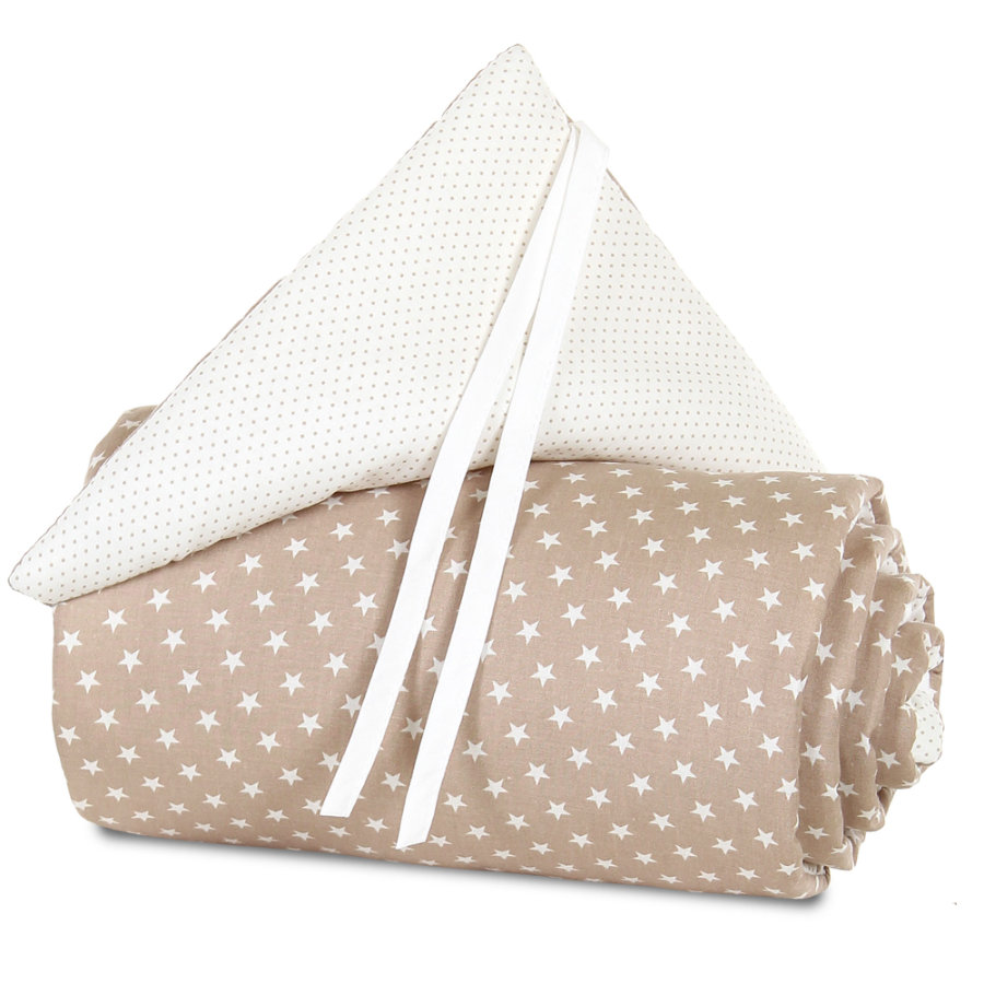 Acolchado protector babybay mini/medio marrón claro estrella blanca