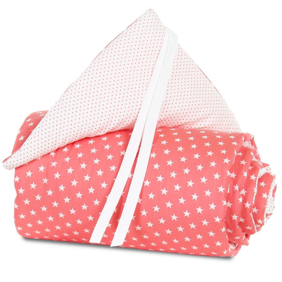 babybay® Nestchen Organic Cotton Mini/Midi pfirsich Sterne weiß 157x25 cm