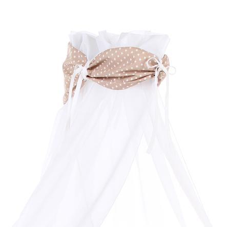 babybay Ciel de lit brun clair Étoiles blanc, 200 x 135 cm