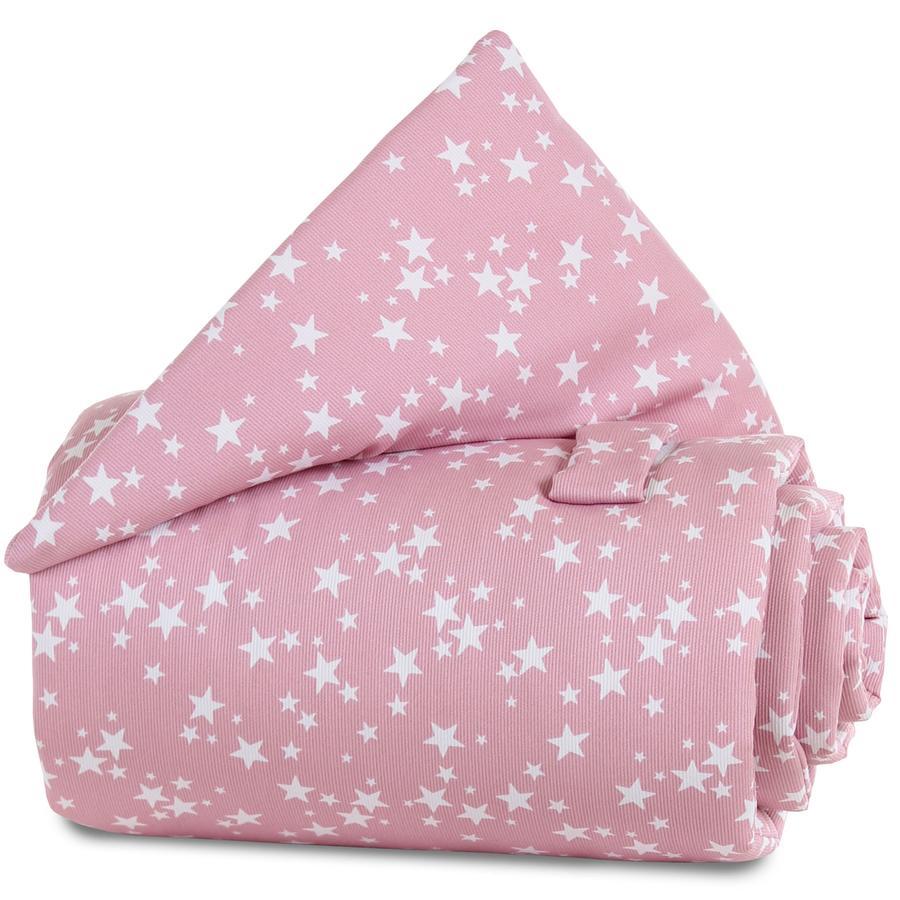 babybay Couverture de barrière de lit framboise Étoiles blanc